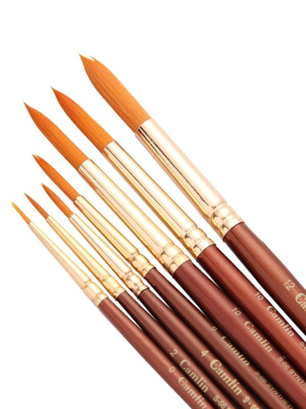 Camel Paint Brush Series 66 - Round Synthetic Gold, Set of 7 with Camel Paint Brush Series 67 - Flat Synthetic Gold, Set of 7